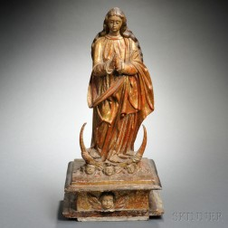 Spanish Colonial Carved, Painted and Gilded Wood Figure of the Virgin Immaculate