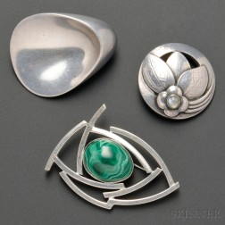 Two Georg Jensen Brooches and a Contemporary Studio Brooch