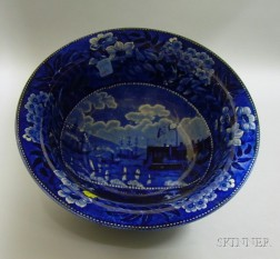 Clews Blue and White Transfer Landing of Gen. Lafayette at Castle Garden, New York   Pattern Staffordshire Bowl