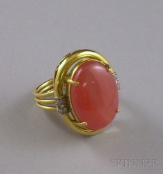 18kt Gold, Pink Hardstone, and Diamond Ring.