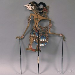 Gilt- and Polychrome-decorated Wayang Puppet of Prince Samba