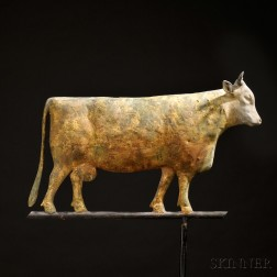 Gilded Molded Sheet Copper and Cast Zinc Cow Weathervane