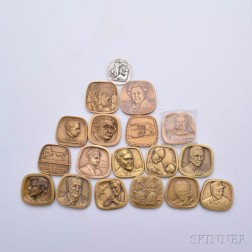 Eighteen Small Mostly Bronze Medals