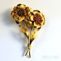 Tiffany & Co. 18kt Gold and Ruby Floral Spray Brooch