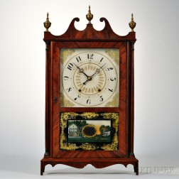 Bishop & Bradley Mahogany Pillar and Scroll Clock