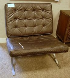Pair of Barcelona-style Brown Leather Cushion and Steel Lounge Chairs.