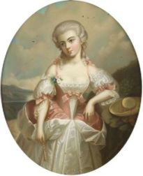 Continental School, 18th/19th Century  Portrait of an Elegant Lady Holding a Fan and Standing in a Landscape.