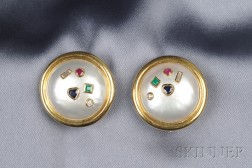 18kt Gold Mabe Pearl and Gem-set Earclips