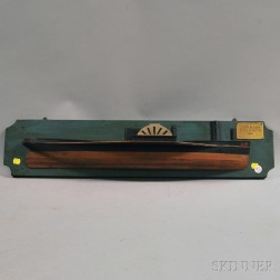 Painted and Pine-mounted Half-hull Ship Model of a Paddle Steamer