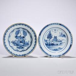 Two Tin-glazed Earthenware Chinoiserie-decorated Dishes