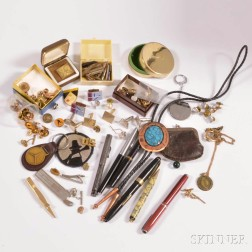 Group of Men's Dress Accessories and Pens.     Estimate $150-200
