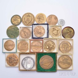 Nineteen Assorted American Mostly Bronze Commemorative Medals