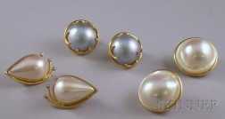 Three Pairs of 14kt Gold and Mabe Pearl Earclips