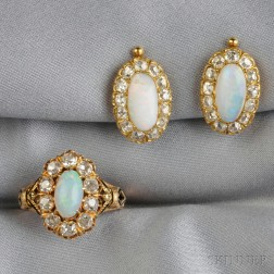 Opal and Diamond Earclips and Ring