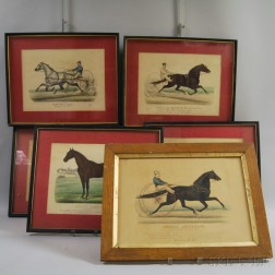 Six Currier & Ives Hand-colored Horse Engravings