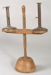 Shaker Red Painted Adjustable Wooden Candlestand and Two Tin Hogscraper Candlesticks