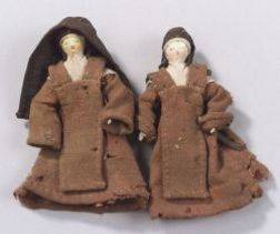 Two Grodnertal Wooden Nuns