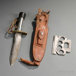 Randall Model 18 Attack and Survival Knife with Scabbard, and a Survival Tool