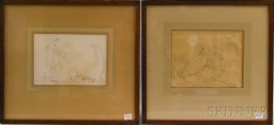 John Flaxman (British, 1755-1826)      Two Framed Illustrations from Aeschylus: Prometheus Chain'd