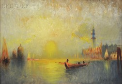 George Hirst Bogart (American, 1864-1923)      Two Venice Views: Night View of San Marco