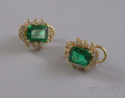 14kt Gold, Synthetic Emerald, and Diamond Earclips.