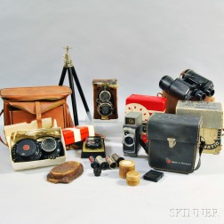 Group of Cameras, Lenses, and Accessories