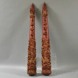 Pair of Carved Temple Pillars