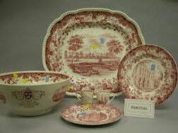 Fifty-seven Piece Group of Wedgwood Red and White Transfer Decorated Harvard   University Ceramic Tableware
