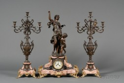 Three-piece Louis XV/XVI Style Marble and Patinated Metal Clock Garniture