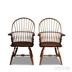 Two Wallace Nutting Carved Sack-back Windsor Chairs