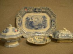 Blue and White Transfer Ironstone Covered Tureen, Siam Platter, Covered Park Scenery Serving Dish and a Plate.