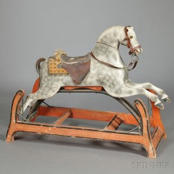 Carved and Painted Wooden Rocking Hobby Horse