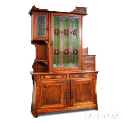 Arts and Crafts Oak and Mosaic Glass Cabinet