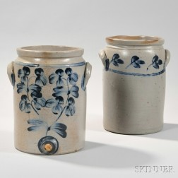 Two Cylindrical Cobalt-decorated Baltimore Stoneware Crocks