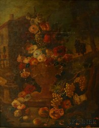 Flemish School, 17th/18th Century Style      Ornate Floral Still Life Set in a Landscape.