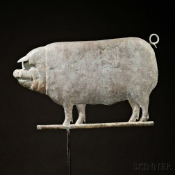 Molded Copper Pig Weather Vane