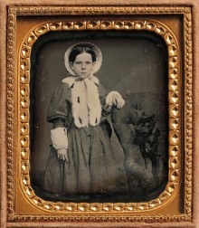 American School, 19th Century      Sixth-plate Daguerreotype of a Girl with a Dog