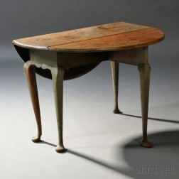 Queen Anne Green-painted Birch Drop-leaf Dining Table