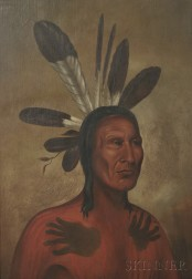 School of George Catlin (American, 1796-1872)      Portrait of a Chief, Possibly Matatope