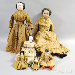 Six Mostly China Shoulder Head Dolls