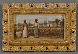 William Aiken Walker (South Carolina/Maryland, 1838-1921)      Two Cotton Pickers by a Cotton Field with Distant Cabins.