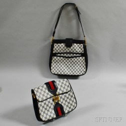0473d5771d65 Two Gucci White and Navy Waxed Canvas and Leather Bags