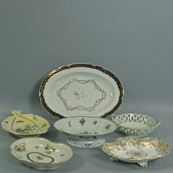 Six English and Continental Porcelain Dishes