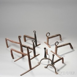Four Pairs of Small Wrought Iron Andirons