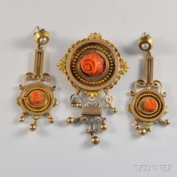 14kt Gold and Coral Antique Suite