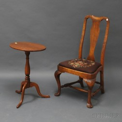 Queen Anne Mahogany Balloon Seat Side Chair and Federal-style Tiger Maple   Candlestand