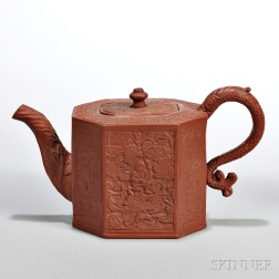 Red Stoneware Indian Boy   Teapot and Cover