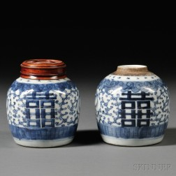 Pair of Small Blue and White Ginger Jars