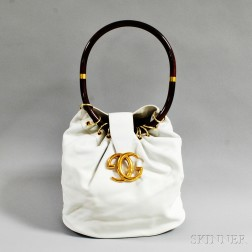 Gucci White Leather Bucket Bag