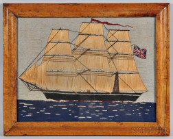 Woolwork Picture of a Three-masted Vessel